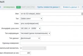 Zabbix - Создать элемент данных
